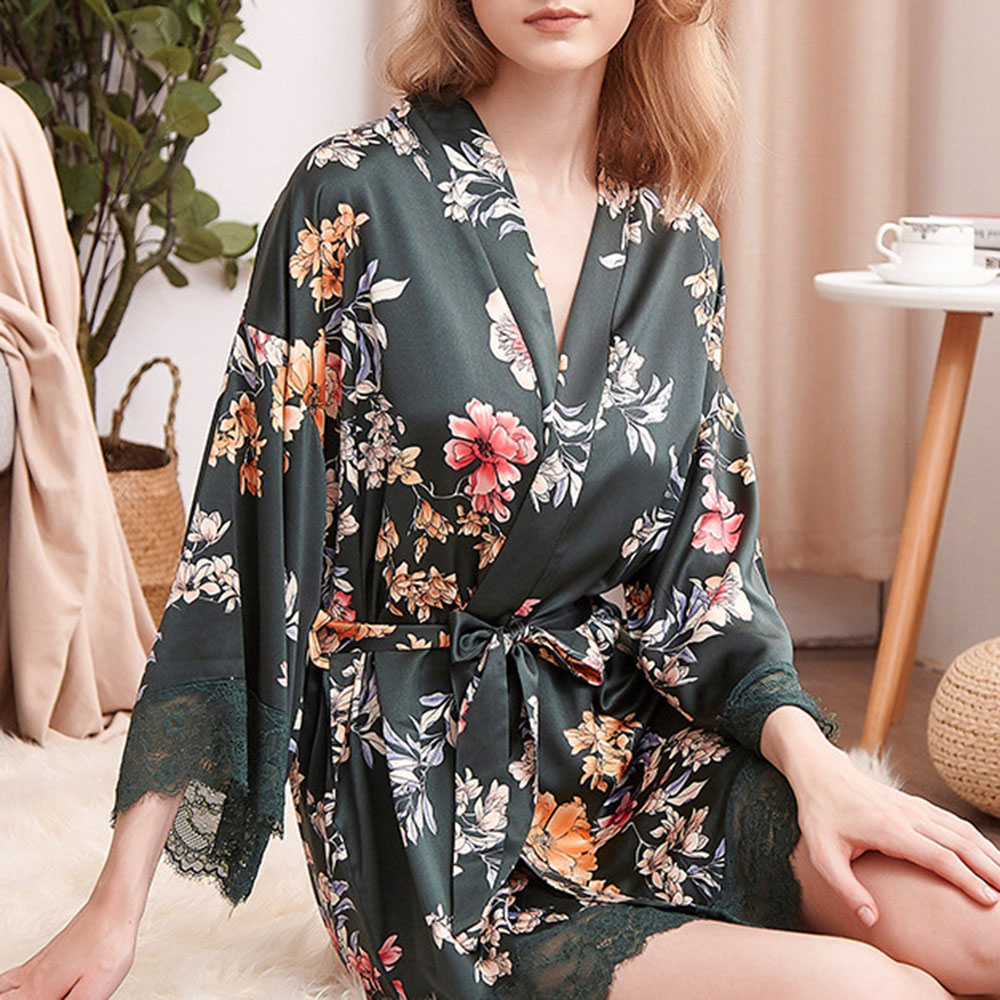 Smooth Silk Single Lace-Up Print Floral Loose Women's Night-Robes