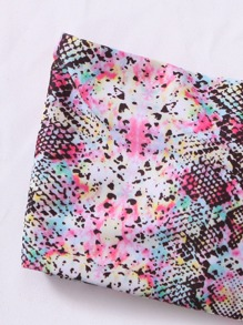 Snakeskin Print Bandeau Bikini Swimsuit