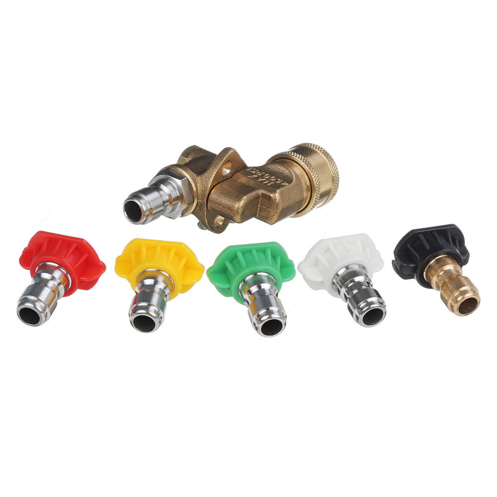 High Pressure Car Washer Pressure Washer Nozzle Tips Pivot Coupler Spray Adapte Kit 4000 PSI