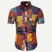Men Patchwork Print Curved Hem Shirt