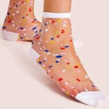 Socken mit Punkten Muster und Netzstoff 1 Paar