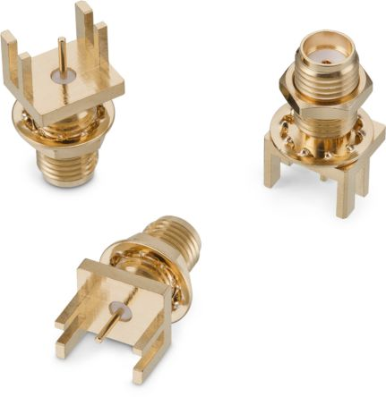 Wurth Elektronik , WR-SMA Straight Edge MountBulkhead Fitting Coaxial Connector, jack, Gold over Nickel, Solder (70)
