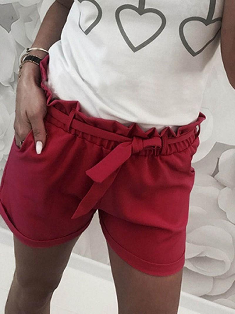 Ericdress Plain Falbala High-Waist Slim Shorts
