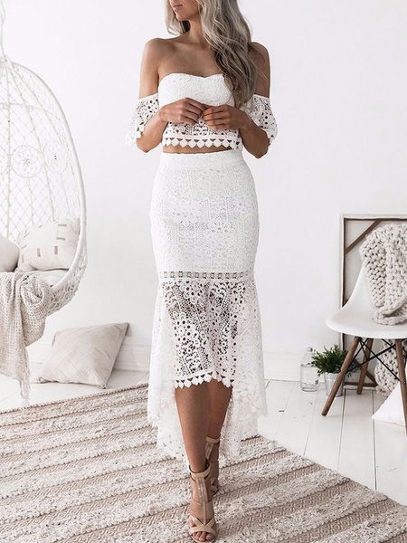 Milanoo White Lace Crop Top And Skirt Women Off The Shoulder 2 Piece Outfit