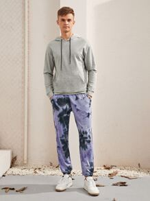 Men Drop Shoulder Hoodie & Tie Dye Sweatpants Set