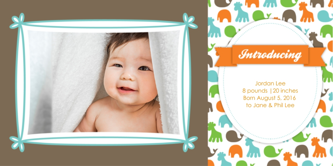 Newborn Flat Matte Photo Paper Cards with Envelopes, 4x8, Card & Stationery -Introducing Baby Animal Print