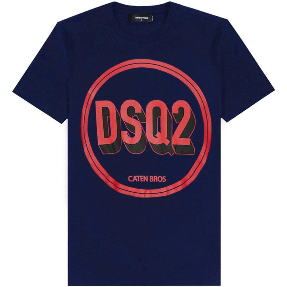 DSquared2 Circle Logo T-Shirt Colour: NAVY, Size: EXTRA EXTRA LARGE