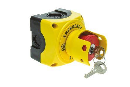 Lovato Surface Mount Mushroom Head Emergency Button - NC, Key Reset, 40mm, 22.3mm, Red/Yellow/Black