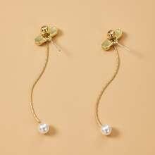 Faux Pearl Long Earrings