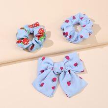 3 piezas accesorio de pelo con patron de fresa