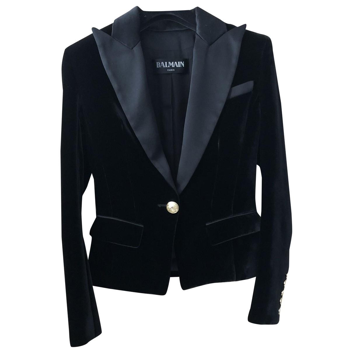 Balmain \N Black Velvet jacket for Women 36 FR