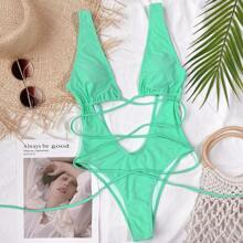Cut-out Front Plunging One Piece Swimsuit