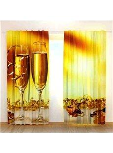 Golden Color Wine Glass Print 3D Blackout Curtain