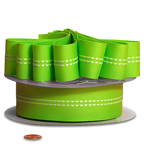 Grosgrain Lime Green Double Stitched Ribbon 1 1/2