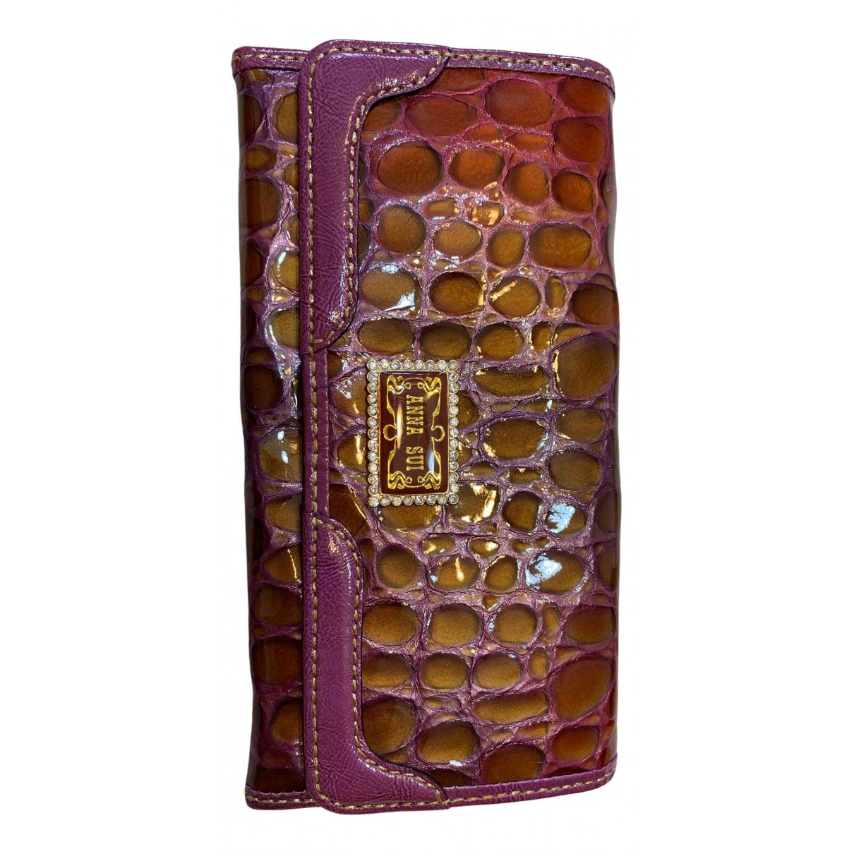 Anna Sui - Portefeuille   pour femme en cuir verni - violet
