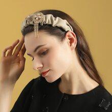 Faux Pearl & Rhinestone Decor Hair Hoop