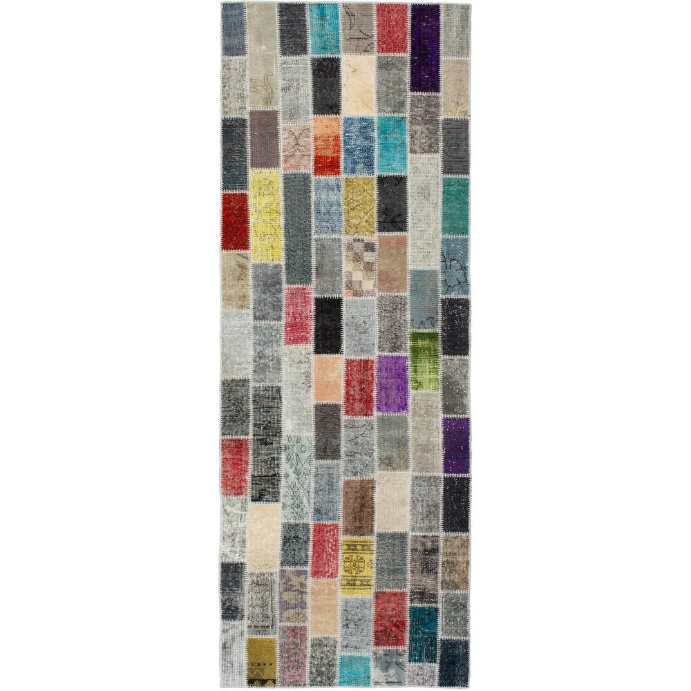 ECARPETGALLERY Hand-knotted Color Transition Patchwork Multi Wool Rug - 3'2 x 10'0 (Multi Color - 3'2 x 10'0)