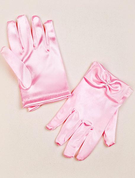Milanoo Pink Flower Girl Gloves Satin Bowed Fingertips Short Gloves