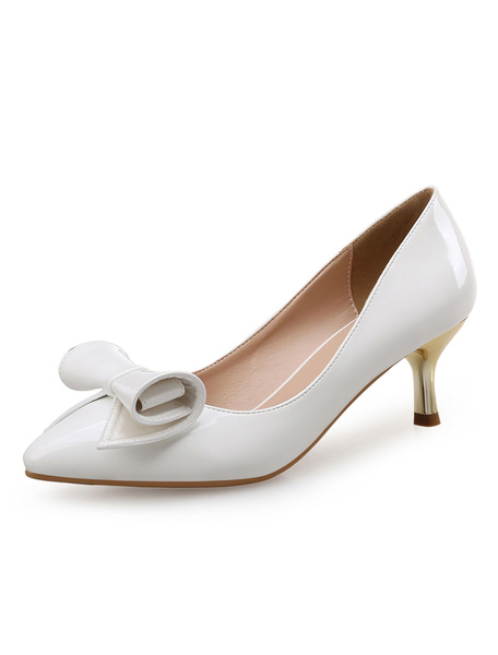 Milanoo White Kitten Heels Pointed Toe Women's Patent Leather Bow Slip On Pumps
