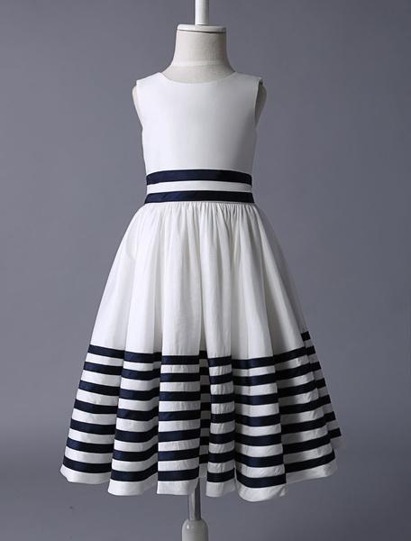 Milanoo Vestido de damitas con escote redondo y rebete sin mangas