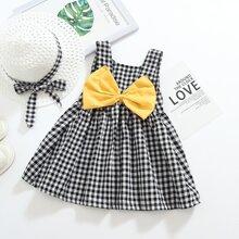 Toddler Girls Bow Gingham Print Dress
