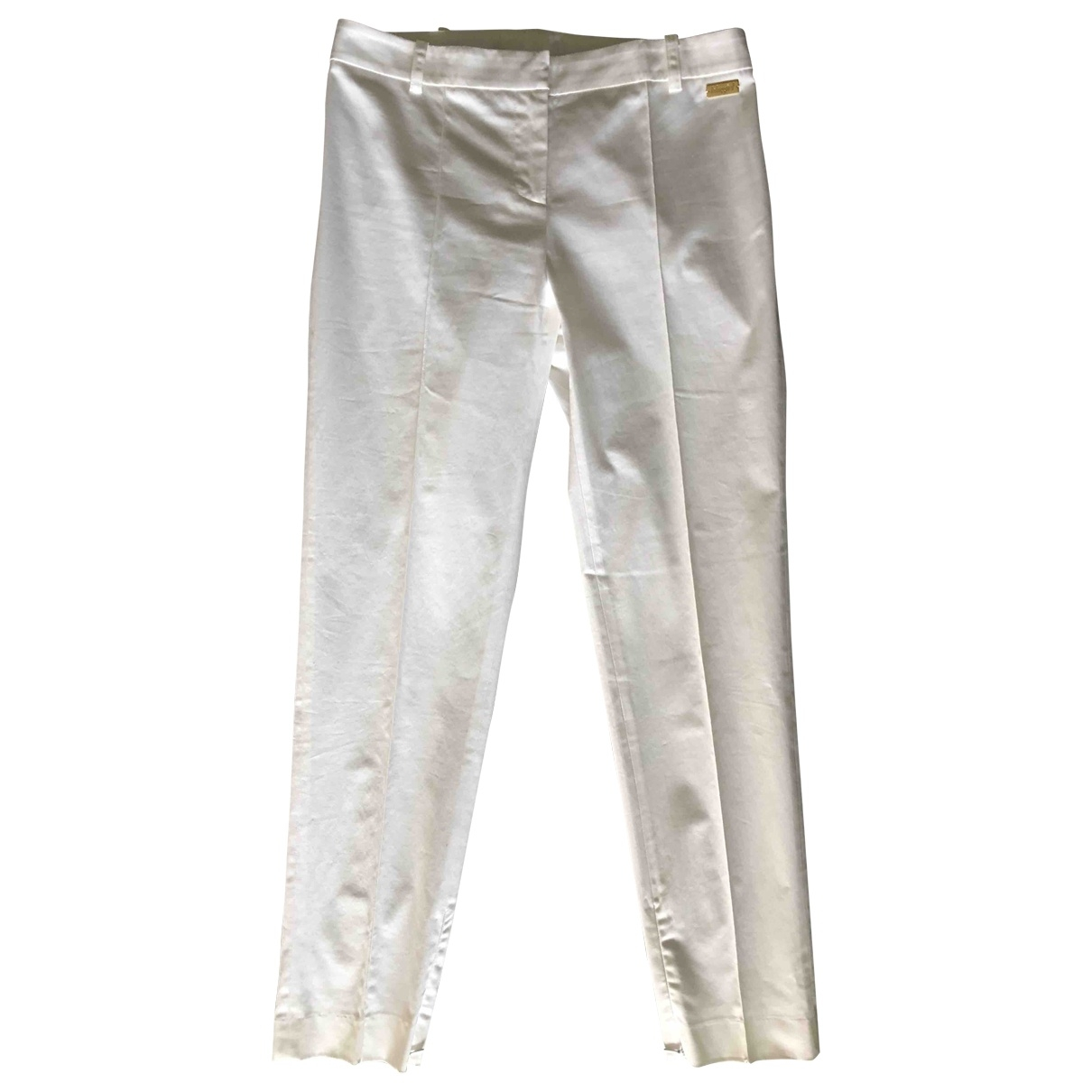 Blumarine \N White Cotton Trousers for Women 42 IT