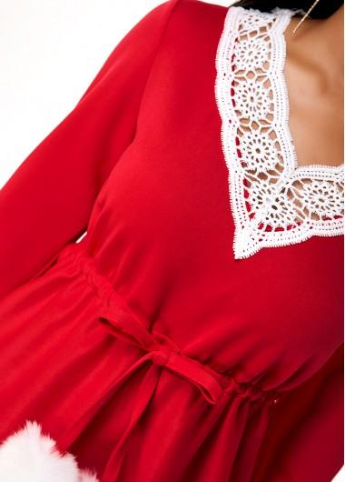 Long Sleeve V Neck Lace Panel T Shirt - S