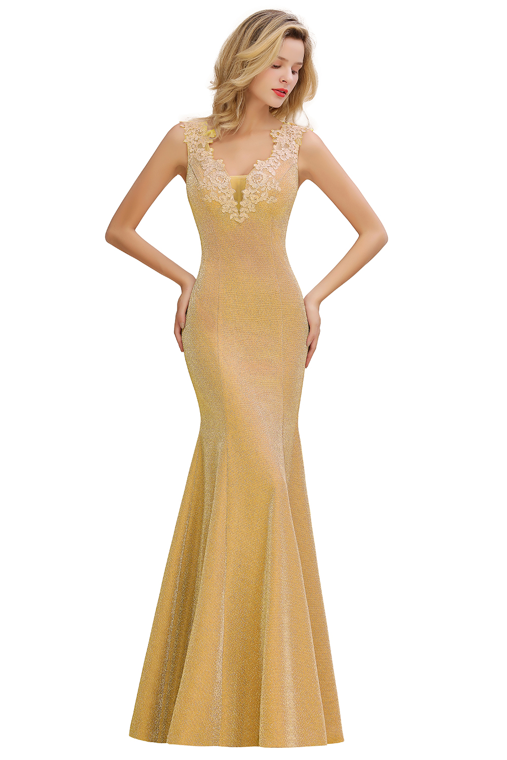 BMbridal Dusty Pink Shinning Long Prom Dress Mermaid With Appliques