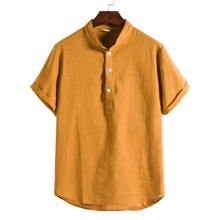 Men Solid Rolled Cuff Half Placket Shirt