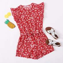 Girls Button Front Ruffle Armhole Self Belted Romper