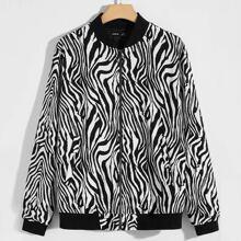 Bomber Jacke mit Zebra Streifen Muster, O-Ring und Reissverschluss