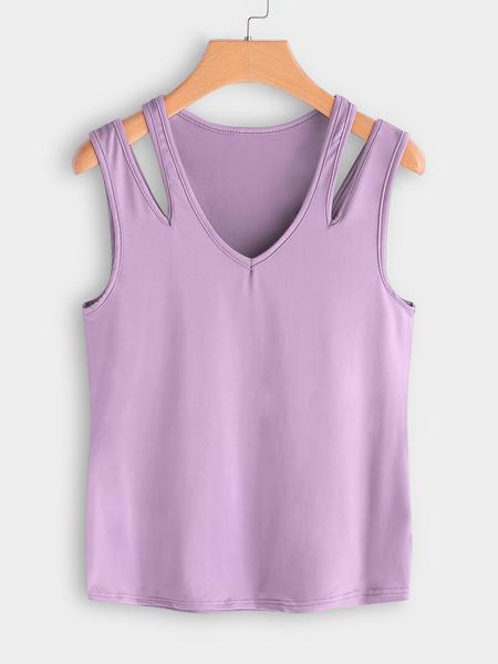 Yoins Purple Cutout Shoulder V-neck Vest