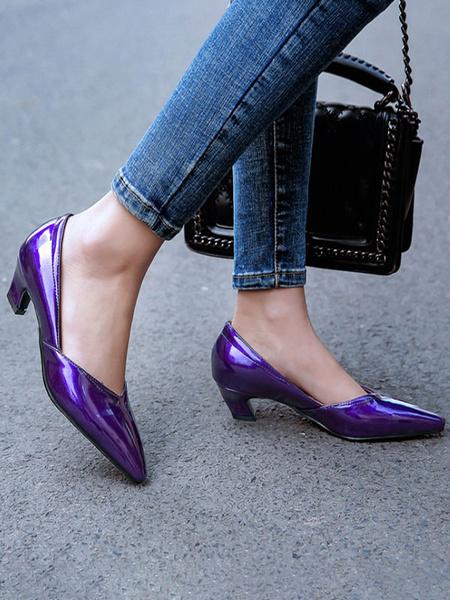 Milanoo Mid-Low Heels For Women Black Pointed Toe Chunky Heel Slip-On Stylish Pumps