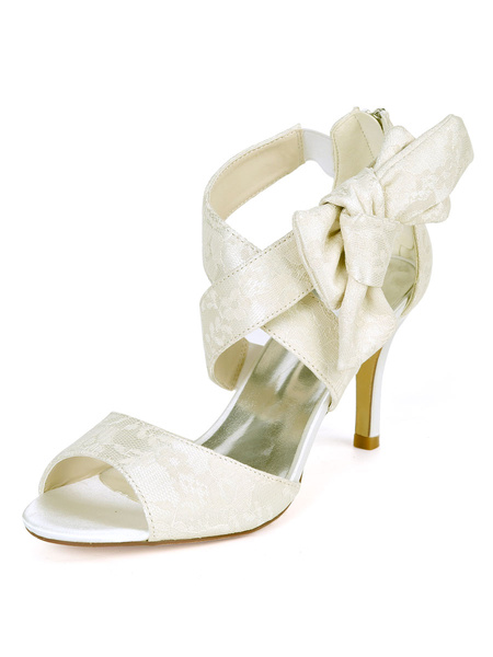 Milanoo Womens Wedding Shoes White Lace Criss-Cross Stiletto Heel Bridal Shoes