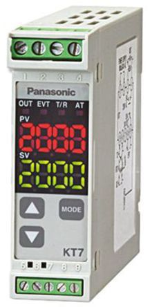 Panasonic KT7 PID Temperature Controller, 22.5 x 75mm, 1 Output Relay, 100  240 V ac Supply Voltage