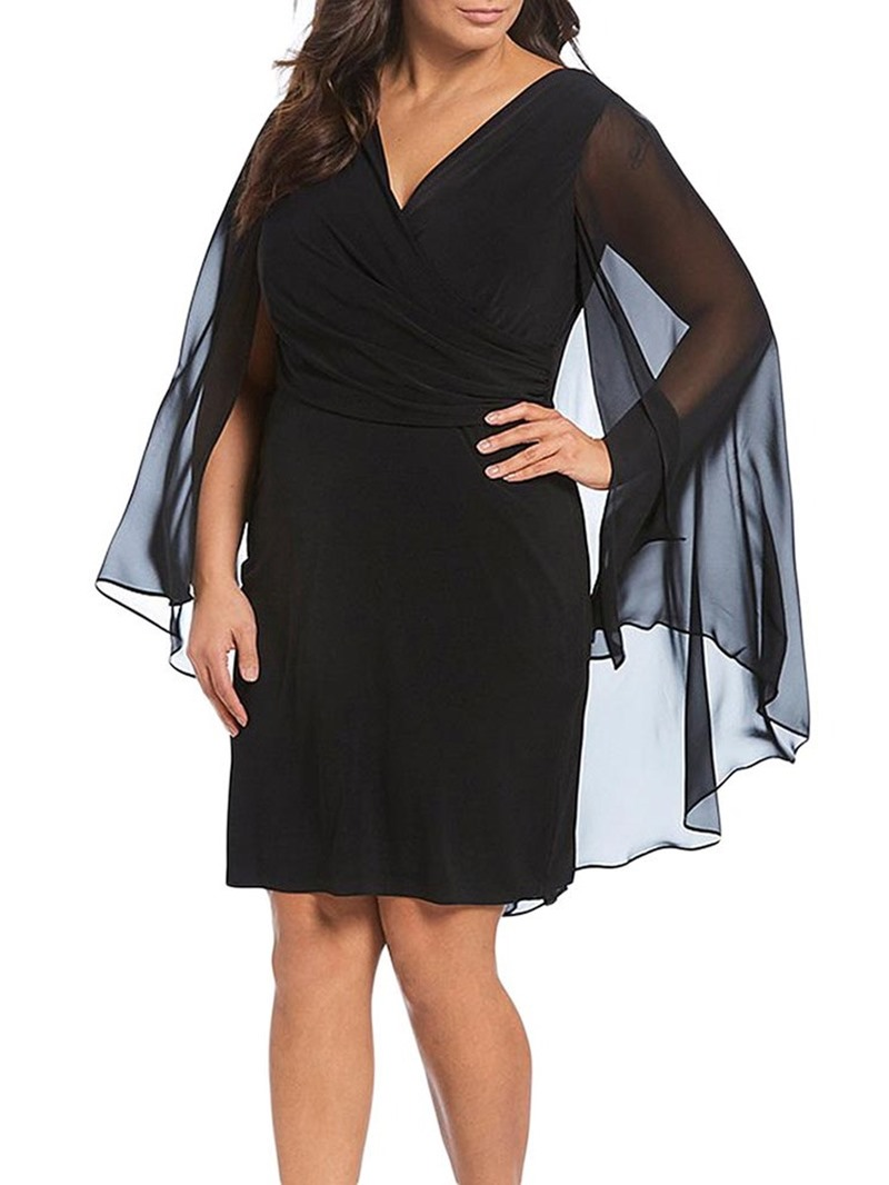 Ericdress Plus Size Knee-Length Long Sleeve V-Neck Sexy Dress