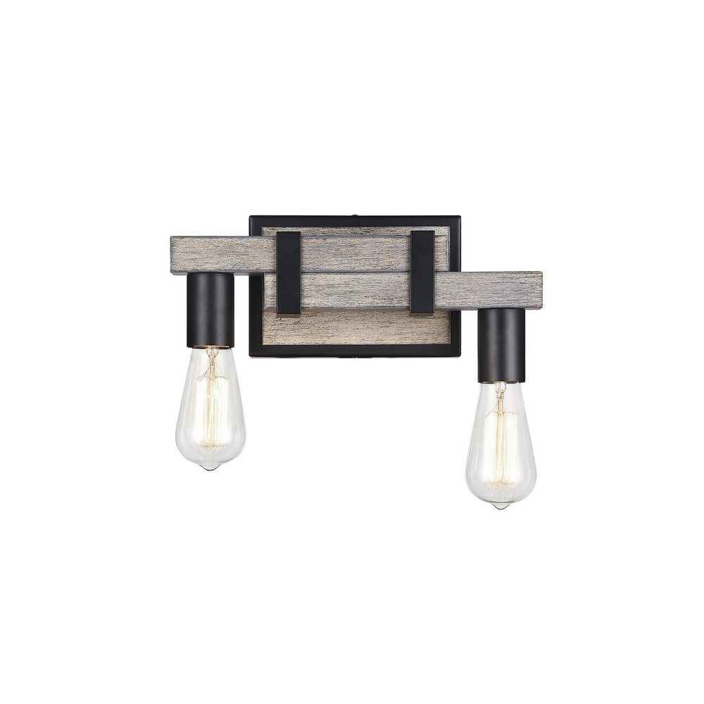 Matteo  S06302WD Two Light Wall Sconce Toledo Wood Grain - One Size (One Size - Clear)