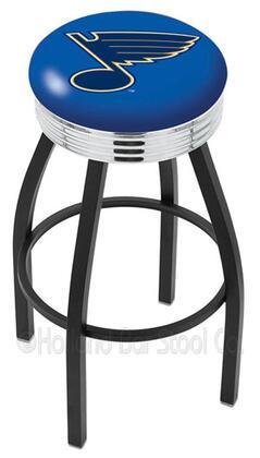 L8B3C25STLBlu 25 L8B3C - Black Wrinkle St Louis Blues Swivel Bar Stool with Chrome 2.5 Ribbed Accent
