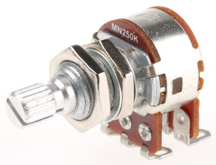 Bourns 2 Gang Rotary Carbon Potentiometer with an 6 mm Dia. Shaft - 250kΩ, ±20%, 0.6W Power Rating, Audio, Panel Mount