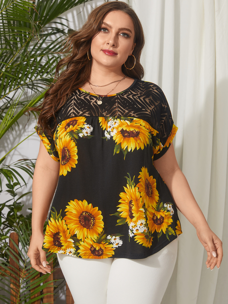 YOINS Plus Size Round Neck Floral Print Short Sleeves Tee