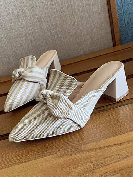 Milanoo Women\'s Mules Shoes Stripes Pointed Toe Low Block Heel Slip-On Shoes