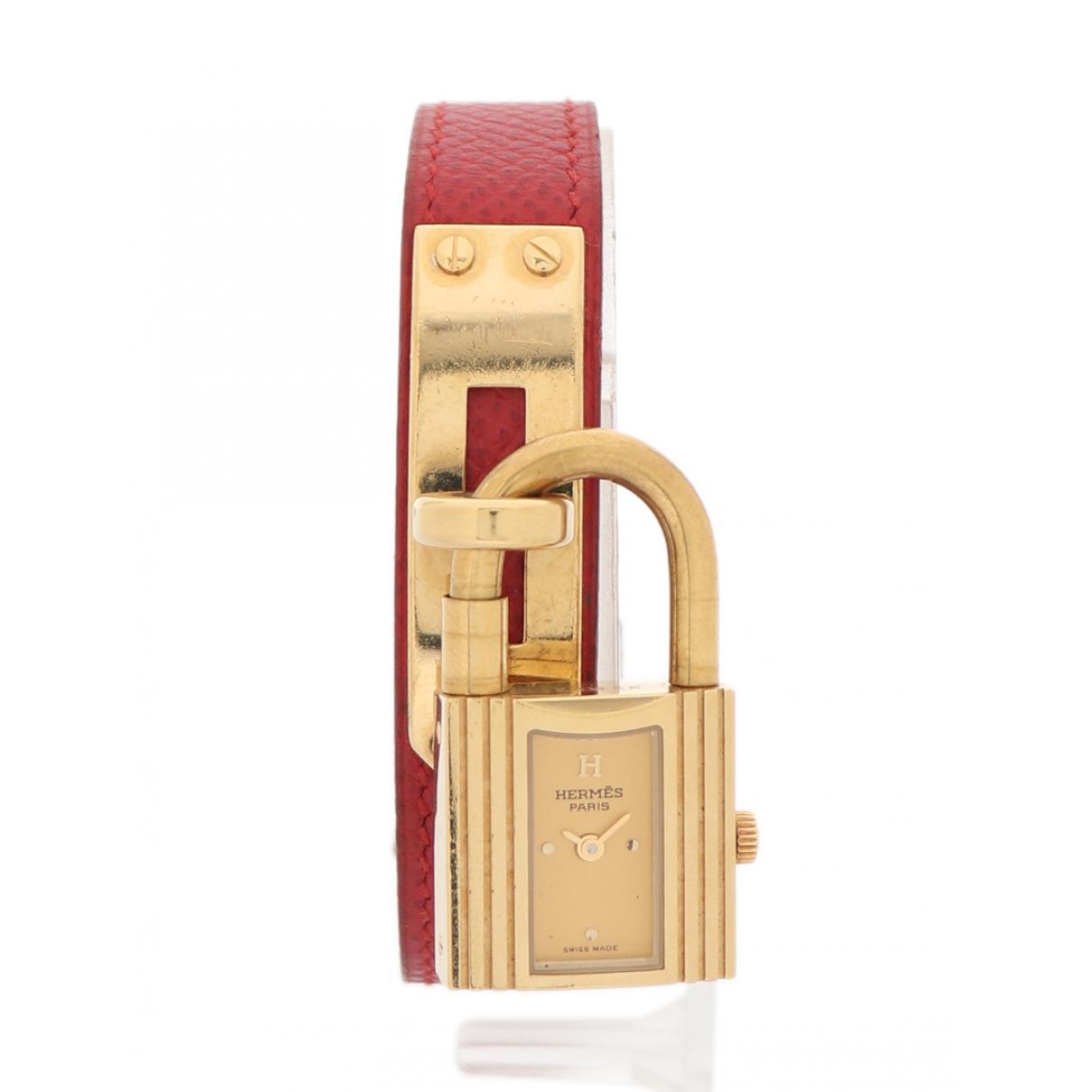 Hermes - Montre Kelly pour femme en plaque or - violet