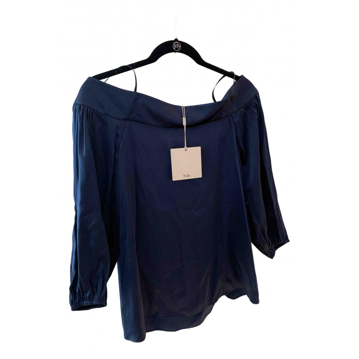 Tibi - Top   pour femme en soie - bleu