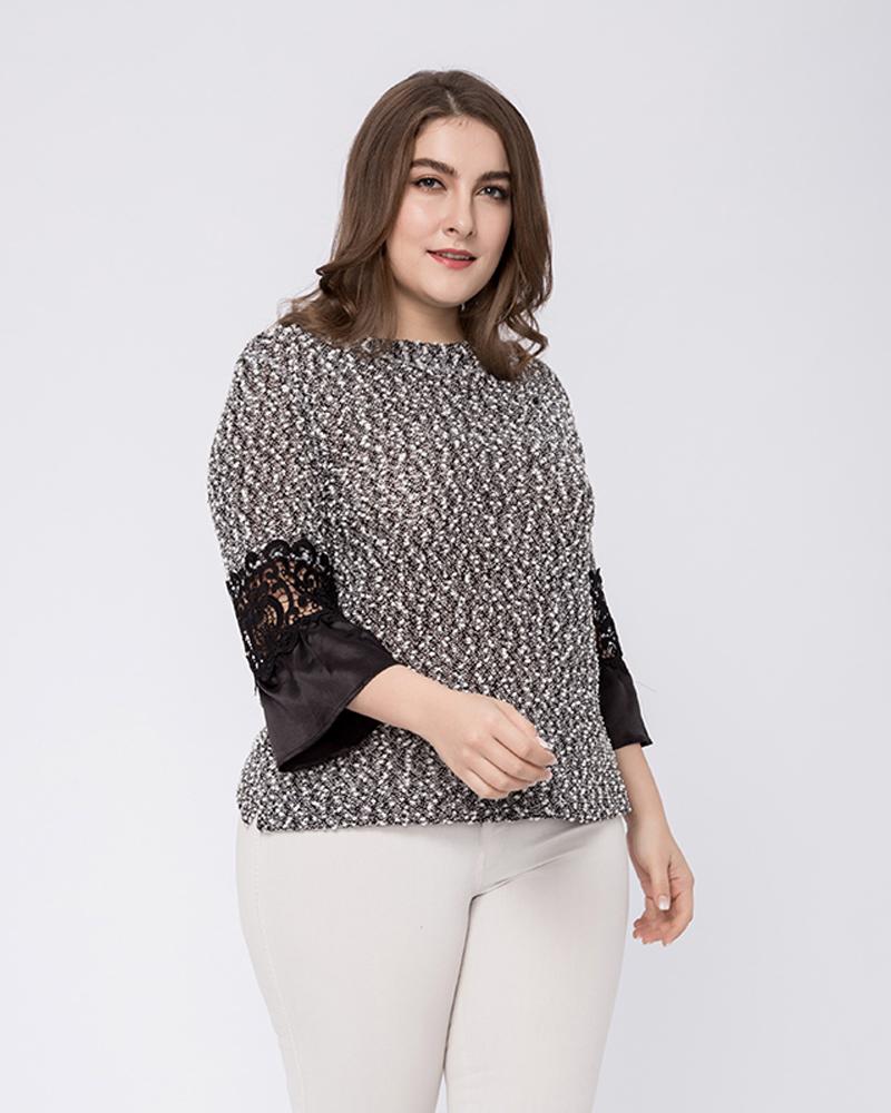 Loose Model Three-Quarter Sleeve Cotton Plus Size Blouse