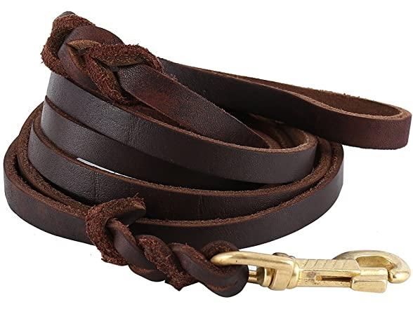 Littlegrass Braided Leather Dog Leash