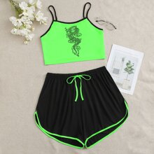 Plus Chinese Dragon Contrast Binding Cami Top With Track Shorts PJ Set