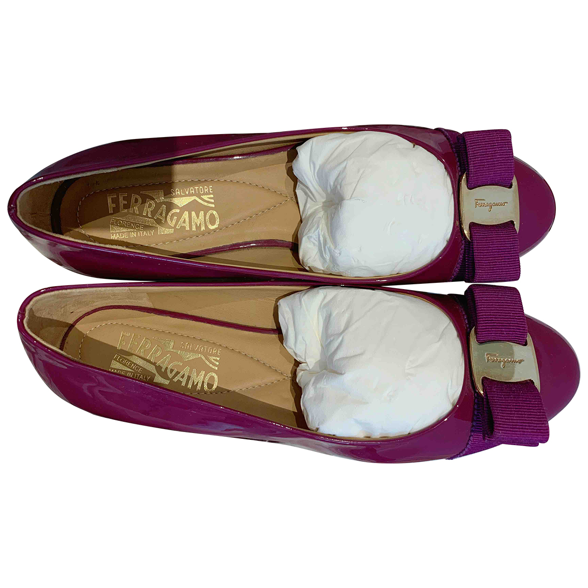 Salvatore Ferragamo - Ballerines   pour femme en cuir verni - violet
