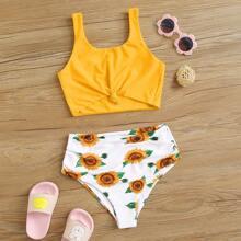 Maedchen Bikini Badekleidung mit Sonnenblumen Muster, Knoten und hoher Taille