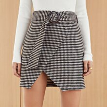 Plaid Ring Belted Skirt