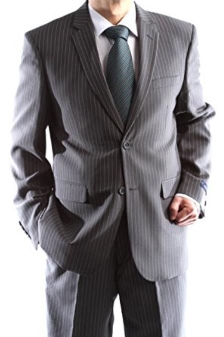 Men's Single 2Button Charcoal 1polyester Pinstripe Slim Fit Dress Suit